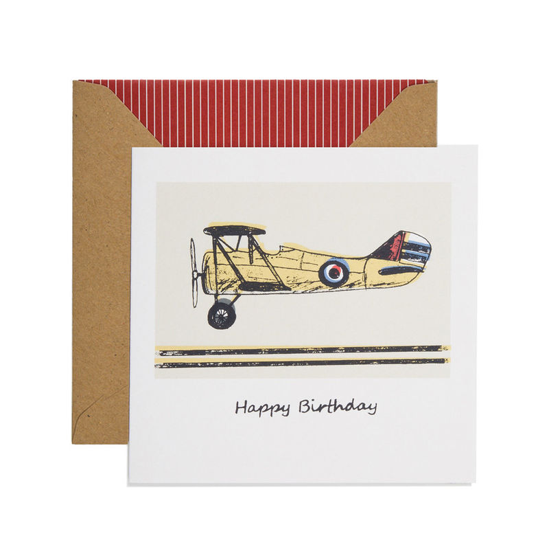 Hand Printed Plane Birthday Card - product images