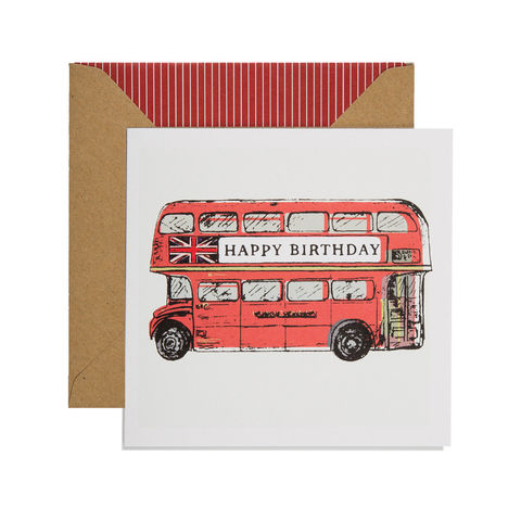 Hand Printed Birthday Bus Card