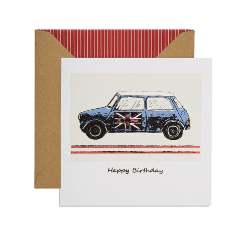Hand,Printed,Retro,Mini,Birthday,Card,buy mini birthday card online for him, buy car birthday cards online, buy birthday cards for driver online, buy birthday cards for him with minis, buy mini birthday cards, buy mini car with union jack birthday card, buy racing car cards online,