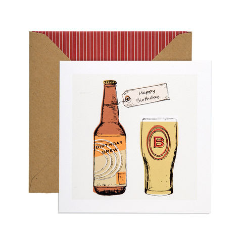 Hand,Printed,Birthday,Brew,Beer,Card,buy bottle of beer birthday card online for him, buy beer birthday cards online, buy birthday cards with beer online, buy birthday brew male birthday cards online,