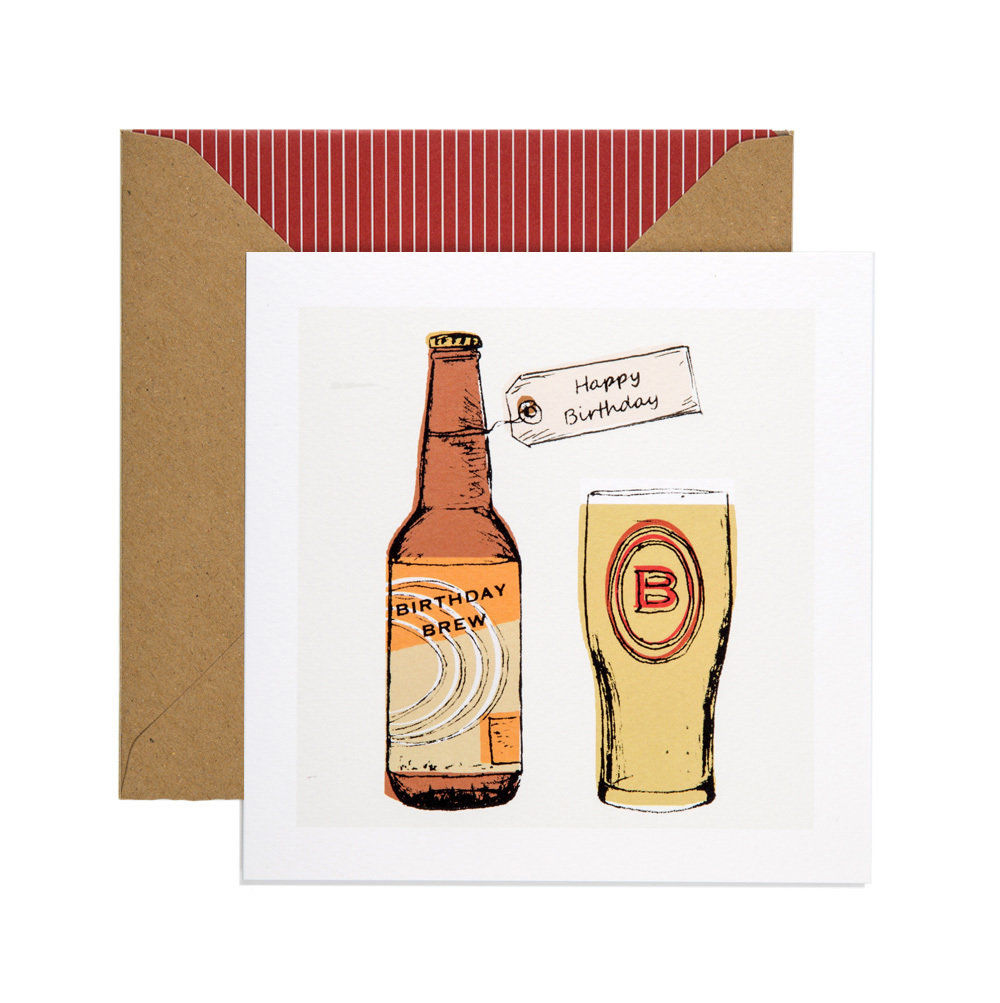 Hand Printed Birthday Brew Beer Birthday Card Karenza Paperie