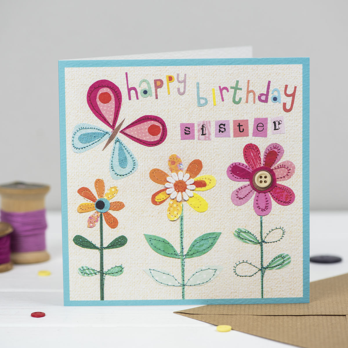 Sister Butterfly And Flowers Birthday Card Karenza Paperie
