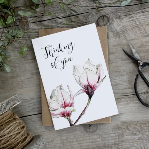Floral,Thinking,Of,You,Card,buy thinking of you cards online, buy floral thinking of you cards, buy magnolia cards online, buy thinking of you card with flowers online, buy with sympathy cards online, buy warm wishes cards online, buy friendship card online