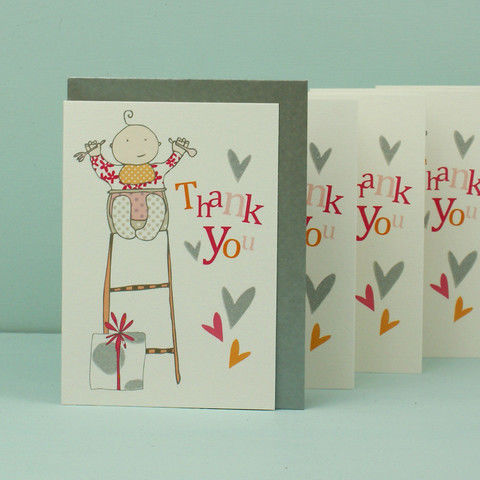 Pack of 5 Baby Girl Thank You Cards - product images  of