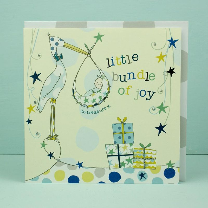 Little Bundle of Joy New Baby Boy Card - product images