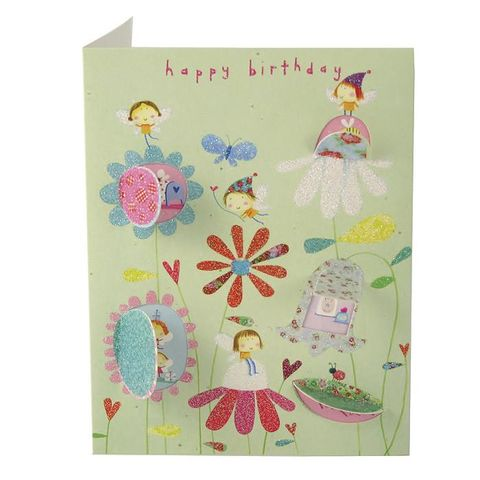 Flower,Fairies,Behind,Closed,Doors,Card,-,Girls,Birthday,buy girls birthay card online, buy fairy birthday cards online, buy birthday cards with fairies online, buy toadstool house birthday card for little girl, buy birthday cards for little girls, buy flower fairy birthday cards