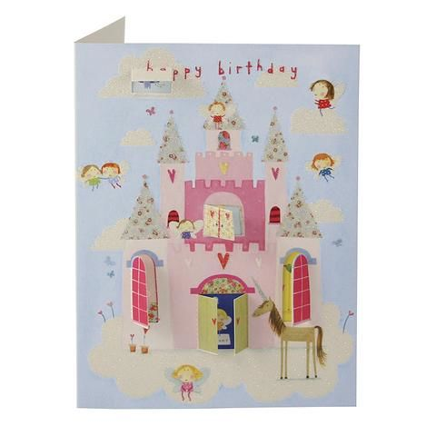 Fairy Castle & Unicorn Behind Closed Doors Card - Girls Birthday Card - product images