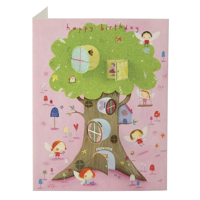 Fairy Tree House Behind Closed Doors Card - Girls Birthday Card - product images