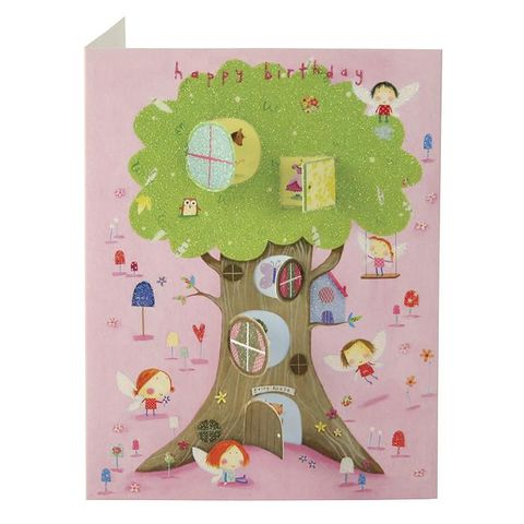 Fairy,Tree,House,Behind,Closed,Doors,Card,-,Girls,Birthday,buy girls birthday card online, buy fairy birthday cards online, buy birthday cards with fairies online, buy pink castle birthday card for little girl, buy birthday cards for little