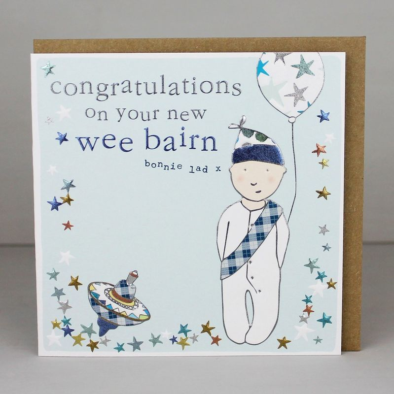 Congratulations On Your New Wee Bairn Card  - New Baby Boy Card - product images