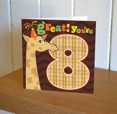 Giraffe,Great,You're,8,Birthday,Card,buy childrens age birthday cards online, buy 8th birthday card for boy online, buy age eight birthday card for girl online,buy 8th birthday cards online, eighth birthday, age eight cards, age 8 cards for boys, girls eighth birthday cards, giraffe cards, b