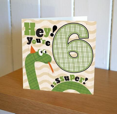 Snake,Super,6th,Birthday,Card,buy childrens age birthday cards online, buy 6th birthday card for boy online, buy age six birthday card for girl online, buy sixth birthday cards online, buy snake birthday cards online