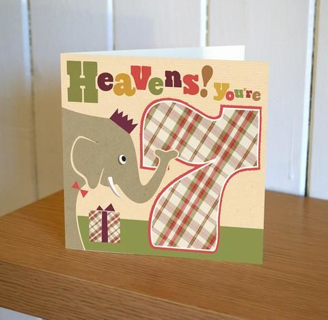 Elephant,7th,Birthday,Card,buy 7th birthday cards online, buy age seven birthday cards online, buy elephant birthday cards online, buy retro childrens birthday cards online, seventh birthday, ,age seven cards, age 7 cards for boys, girls seventh birthday cards, elephant cards, buy