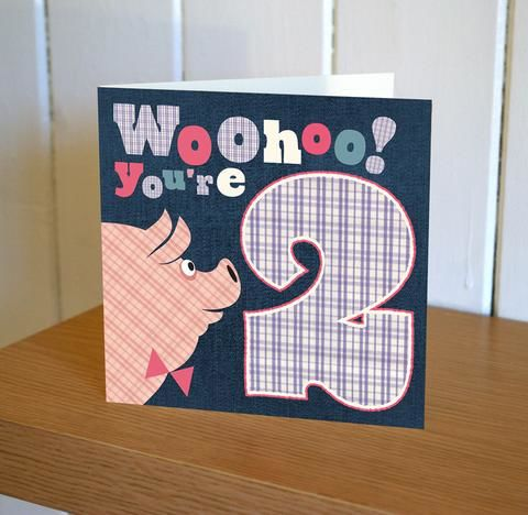 Pig,2nd,Birthday,Card,buy childrens age birthday cards online, buy 2nd birthday card for boy online, buy age two birthday card for girl online, buy pig birthday cards online, buy 2nd birthday cards online,
