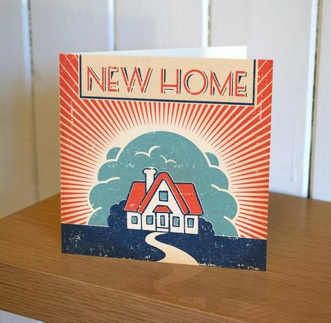 Red,And,Blue,House,New,Home,Card,buy welcome to your new home card online, buy congrats on new home cards online, buy retro cards online,buy new home card, buy new home card online, card for new home, new house card, congratulations card, good luck card, retro card