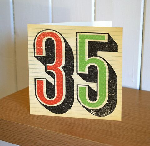 Retro,35th,Birthday,Card,buy 35th birthday card online, buy age thirty-five birthday card online, thirty five birthday card for her, 35th birthday card for him, thirty-fifth birthday card,