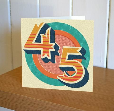 Retro,45th,Birthday,Card,buy 45th birthday card online, buy age forty-five birthday card online, forty five birthday card for her, 45th birthday card for him, forty-fifth birthday card, 45th card, buy age birthday cards online,