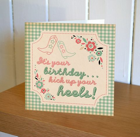 Kick,Up,Your,Heels,Birthday,Card,buy birthday cards for her online, buy heels birthday cards online, buy female birthday cards online, buy cowboy boots birthday cards online, buy cottonwood pennychoo cards online, buy male birthday cards online