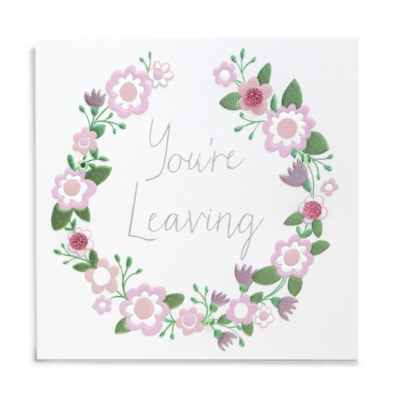 Handmade You're Leaving Floral Garland Card - product images  of