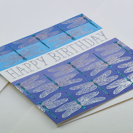 Hand,Finished,Dragonfly,Birthday,Card,buy birthday cards for her online, buy female birthday cards with dragonflies online, dragonfly pretty birthday cards for her, dragonfly birthday card for her, pretty female birthday cards