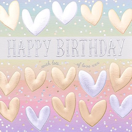 Hand,Finished,Hearts,Happy,Birthday,Card,buy birthday cards for her online, buy female birthday cards with hearts online, with lots of love birthday cards for her, buy birthday cards with hearts online, buy to the one i love birthday card online, buy heart unisex birthday cards online,
