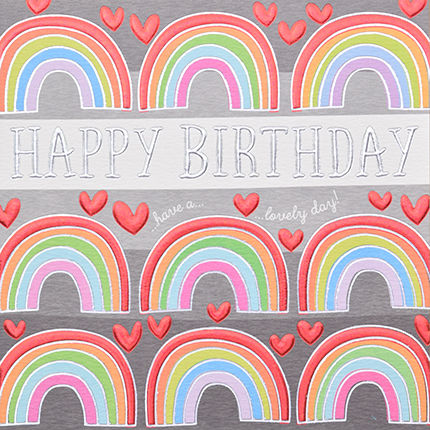 Hand,Finished,Rainbow,Happy,Birthday,Card,buy birthday cards for her online, buy female birthday cards with hearts online, buy rainbow birthday cards online, buy gender neutral birthday cards online, buy birthday cards with rainbows online, rainbow birthday cards