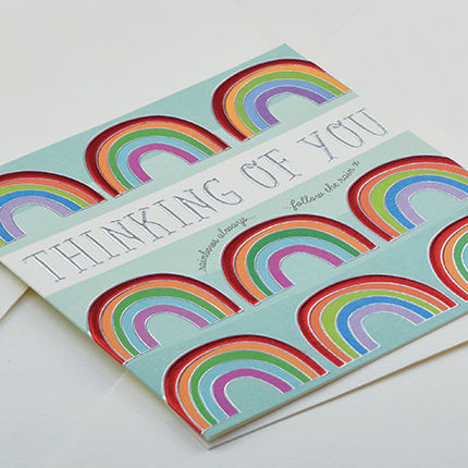 Hand,Finished,Rainbow,Thinking,Of,You,Card,buy thinking of you card online, buy rainbow thinking of you cards online, buy rainbows always follow the rain card online, buy cards for warm wishes online, buy friendship cards online