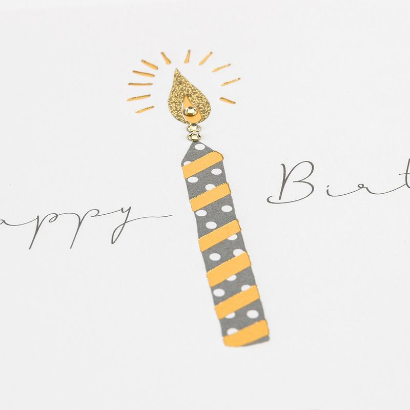 Hand Finished Happy Birthday Candle Card - product images  of