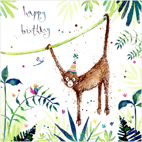 Monkey,Happy,Birthday,Card,buy animal birthday cards online, buy monkey birthday card online, buy birthday card with animals online, buy birthday cards for him online, buy birthday cards with monkeys online, buy kids birthday cards with jungle animals
