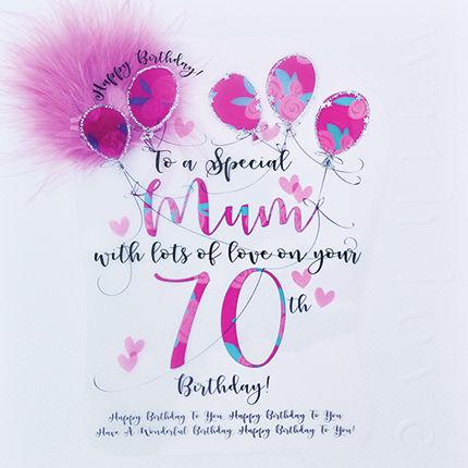 Handmade Mum 70th Birthday Card Large Luxury Birthday Card