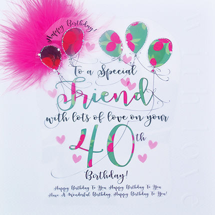 Handmade Friend 40th Birthday Card - Large, Luxury Birthday Card - product images  of