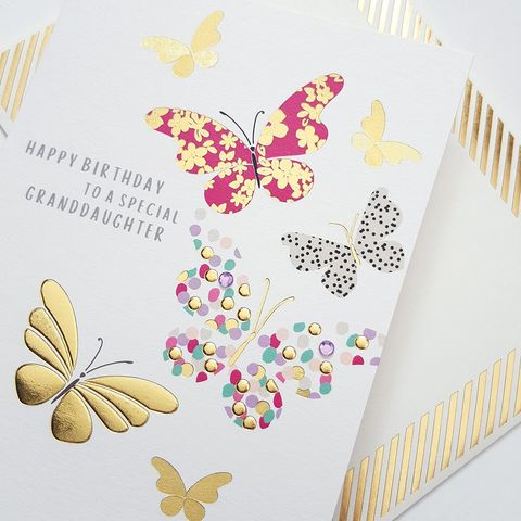 Hand,Finished,Special,Granddaughter,Butterfly,Birthday,Card,buy granddaughter birthday cards online, buy birthday cards for granddaughters online, buy pretty birthday cards for special grand-daughter online, buy grandchild birthday cards online, buy butterfly birthday cards online, birthday cards with butterflies