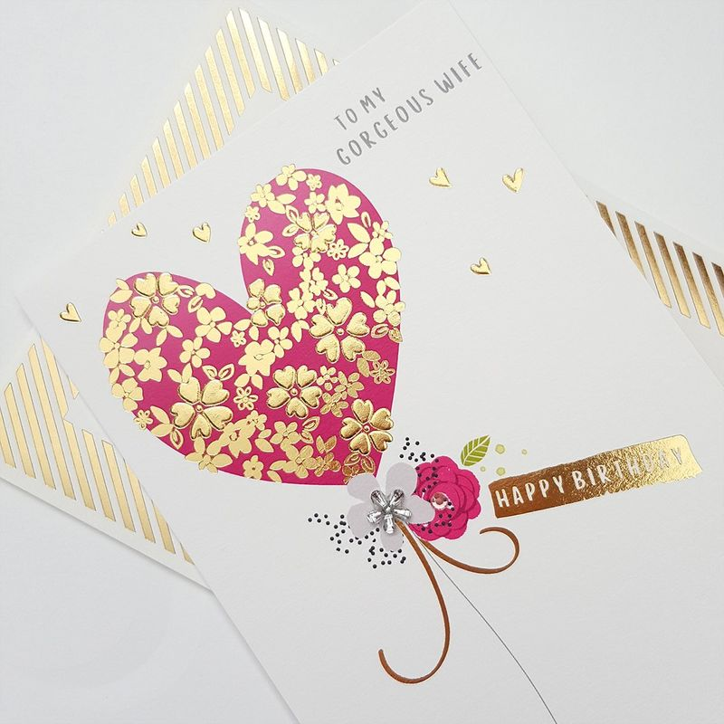 Hand Finished Gorgeous Wife Heart Birthday Card - product images  of