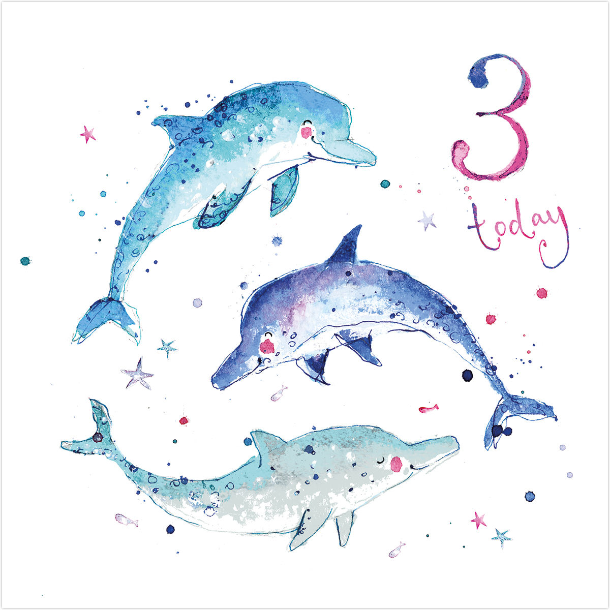 Dolphins 3 Today Birthday Card - Karenza Paperie