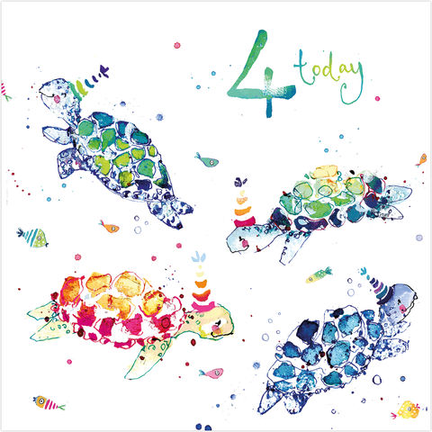 Turtles,4,Today,Birthday,Card,buy unisex 4th birthday cards online, buy animal cards online, buy turtle birthday cards online, buy 4th birthday cards online, buy age four birthday card for little boy online, four turtles birthday card, animal age 4 birthday cards,
