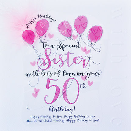 Handmade,Sister,50th,Birthday,Card,-,Large,,Luxury,buy sister 50th birthday card online, 50th birthday card for sister, cards for sisters, fiftieth brithday card, large 50 birthday card for sister, luxury age fifty card for sister, fiftieths, fifty birthday cards,