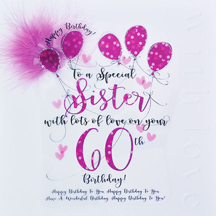 Handmade Sister 60th Birthday Card - Large, Luxury Birthday Card - product images  of