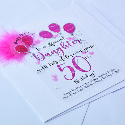 Handmade Daughter 50th Birthday Card - Large, Luxury Birthday Card - product images  of