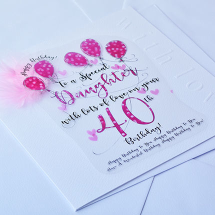 Handmade Daughter 40th Birthday Card - Large, Luxury Birthday Card - product images  of