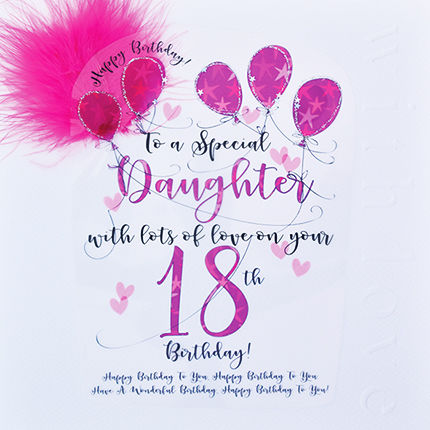 Handmade Daughter 18th Birthday Card - Large, Luxury Birthday Card - product images  of