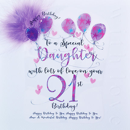 Handmade Daughter 21st Birthday Card - Large, Luxury Birthday Card - product images  of
