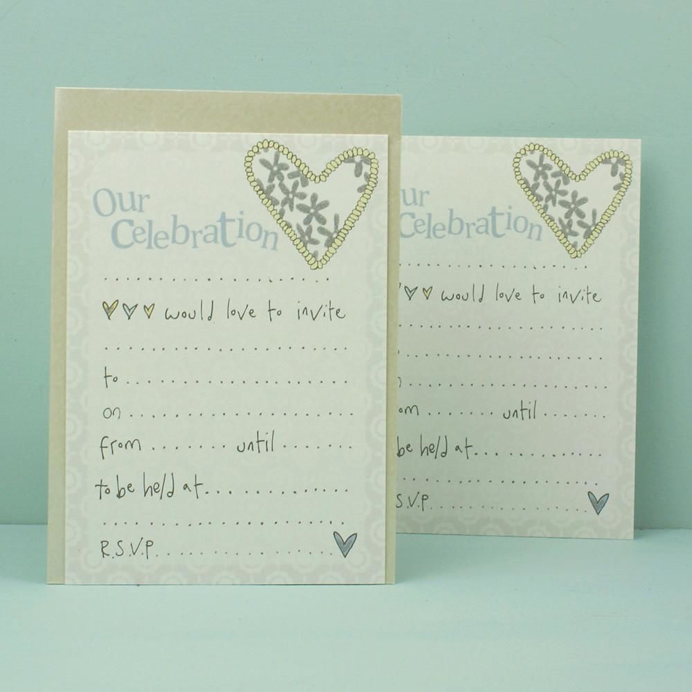 Pack of 8 our celebration wedding invitations karenza for Buy wedding invitations in store
