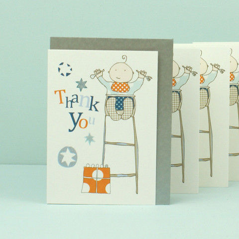 Pack of 5 Baby Boy Thank You Cards - product images  of