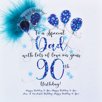 Handmade Dad 90th Birthday Card - Large, Luxury Birthday Card - product images  of