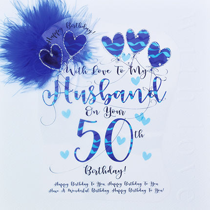 Handmade Husband 50th Birthday Card - Large, Luxury Birthday Card - product images  of