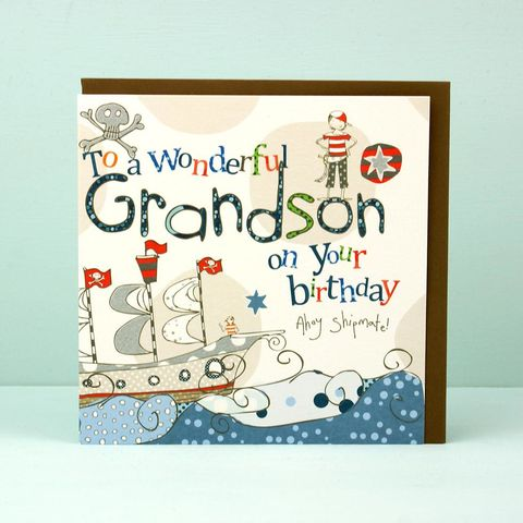 Grandson,Pirate,Birthday,Card,buy grandson birthday card online, card for grandson, pirate birthday card, grand son card, grand-son card, birthday cards for grandsons, grandchild card
