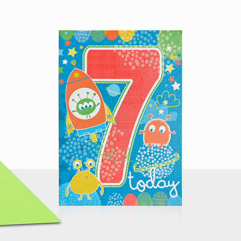 Aliens,&,Space,7th,Birthday,Card,buy 7th birthday cards online, buy age seven birthday cards online, buy boys 7 today birthday card online, buy space birthday cards for children online, buy aliens birthday card for kids online, buy gender neutral kids birthday cards online, buy 7th birth