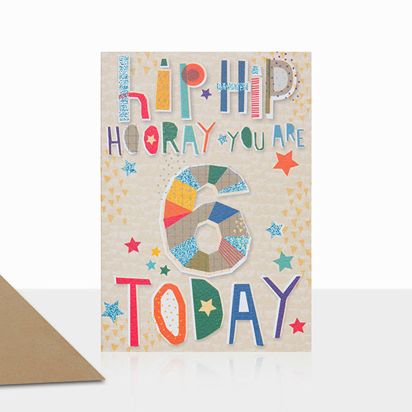 You Are 6 Today Birthday Card - product images