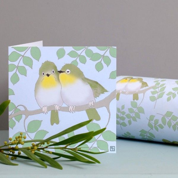 Lovebirds Greetings Card - Emily Burningham Blank Card - product images  of