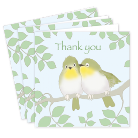 Pack,Of,Lovebirds,Thank,You,Cards,-,Emily,Burningham,buy emily burningham cards online, buy pair of lovebirds cards online, buy lovebirds thank you cards online, buy bird thank you cards online, buy wedding thank you cards online with lovebirds, buy packs of wedding thank you cards online, buy bird statione